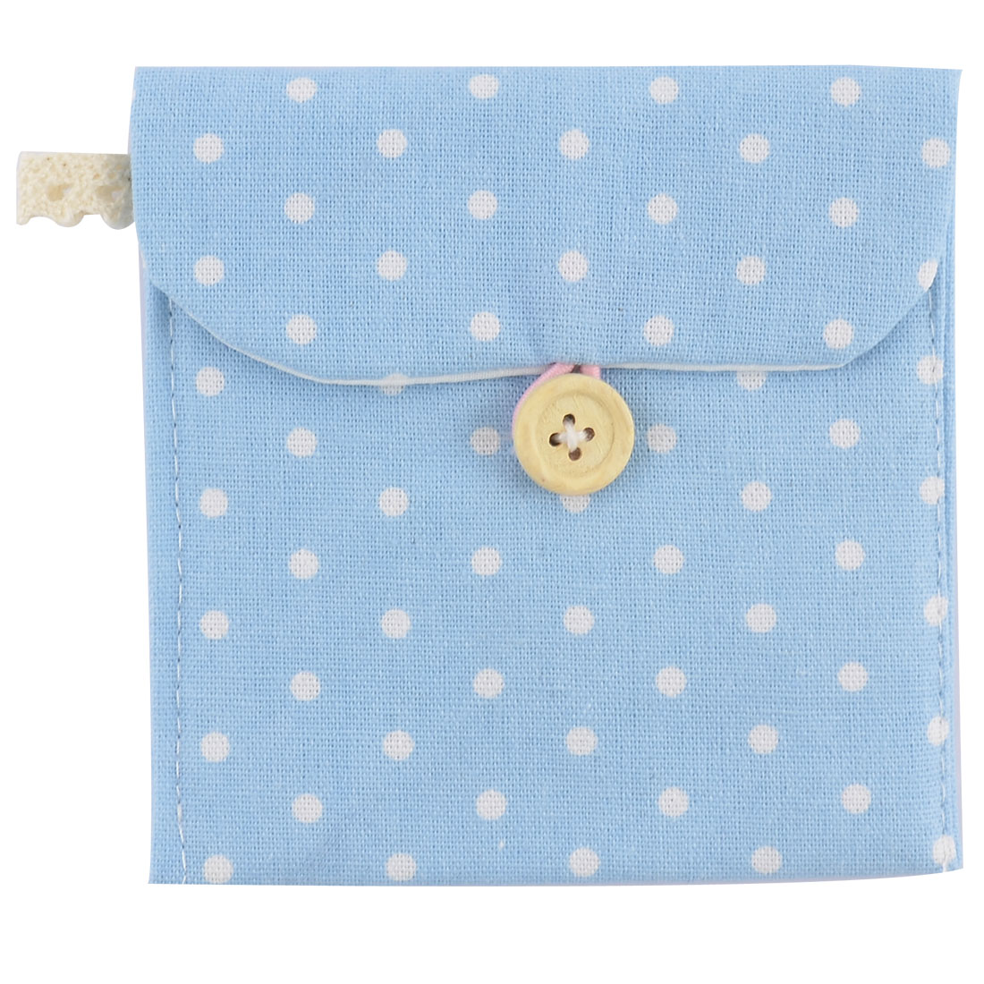Linen Dots Pattern Button Closure Sanitary Pad Storage Bag Light Blue 2 Pcs
