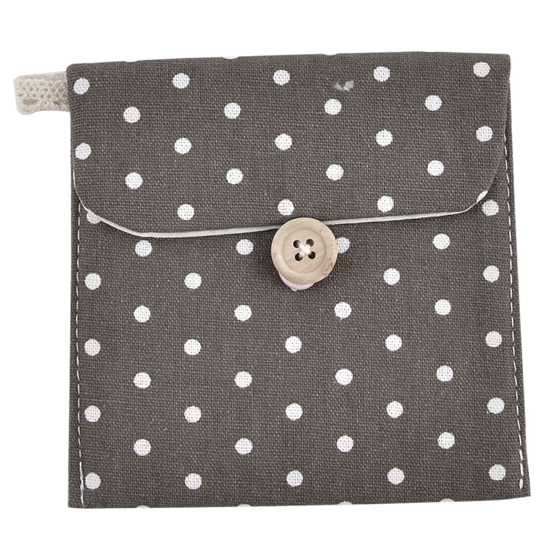 Lady Linen Dots Pattern Button Closure Design Sanitary Napkin Pad Bag Gray 2 Pcs