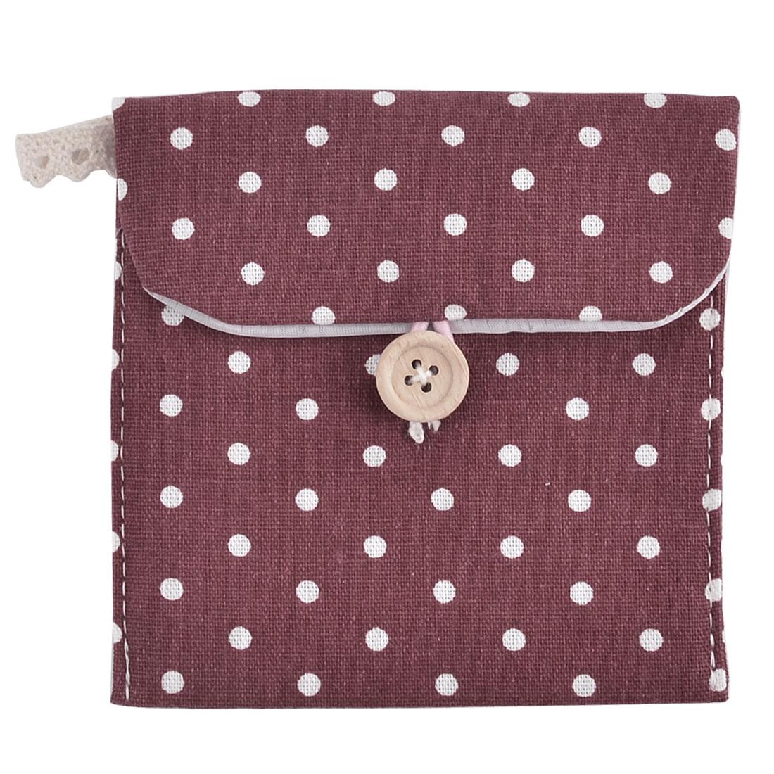 Linen Dots Pattern Button Closure Design Sanitary Towel Pad Bag Burgundy 2 Pcs