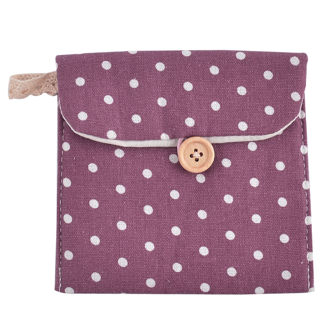 Linen Dots Pattern Button Closure Sanitary Napkin Pad Bag Pouch Purple 2 Pcs