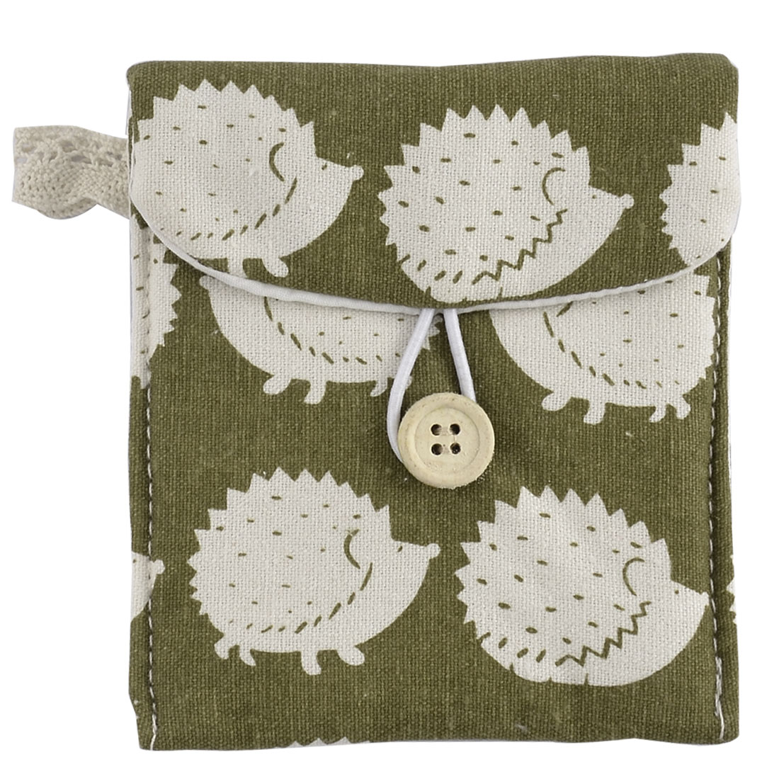 Linen Hedgehog Pattern Button Closure Sanitary Napkin Pad Bag White Olive Green