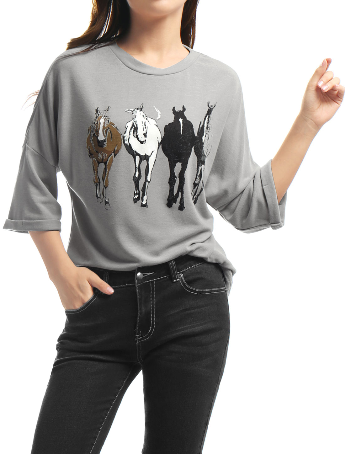 Allegra K Woman Drop 3/4 Sleeves Horse Print Tunic Loose Top Gray S