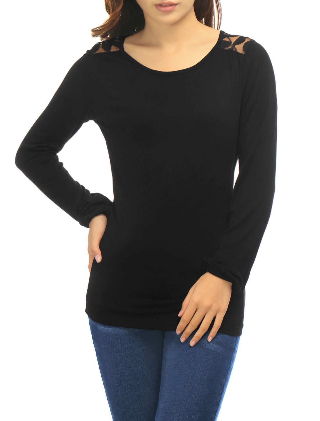 Woman Long Sleeves Scoop Neck Lace Panel Back Top Black L