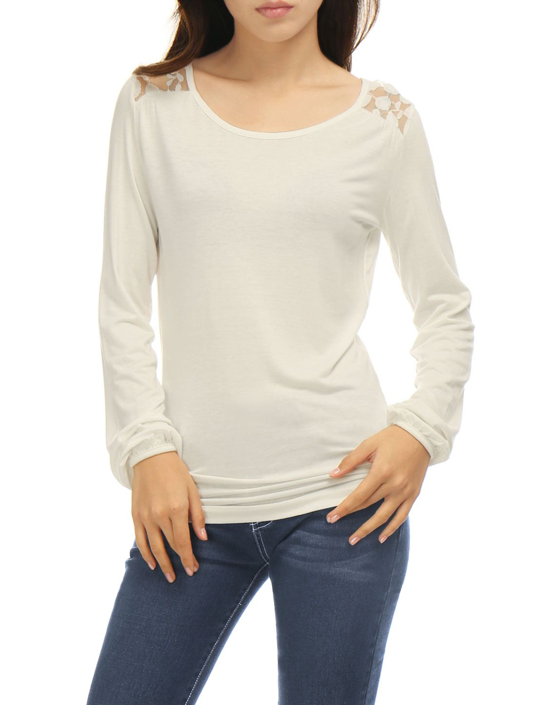 Woman Long Sleeves Scoop Neck Lace Panel Back Top White XS