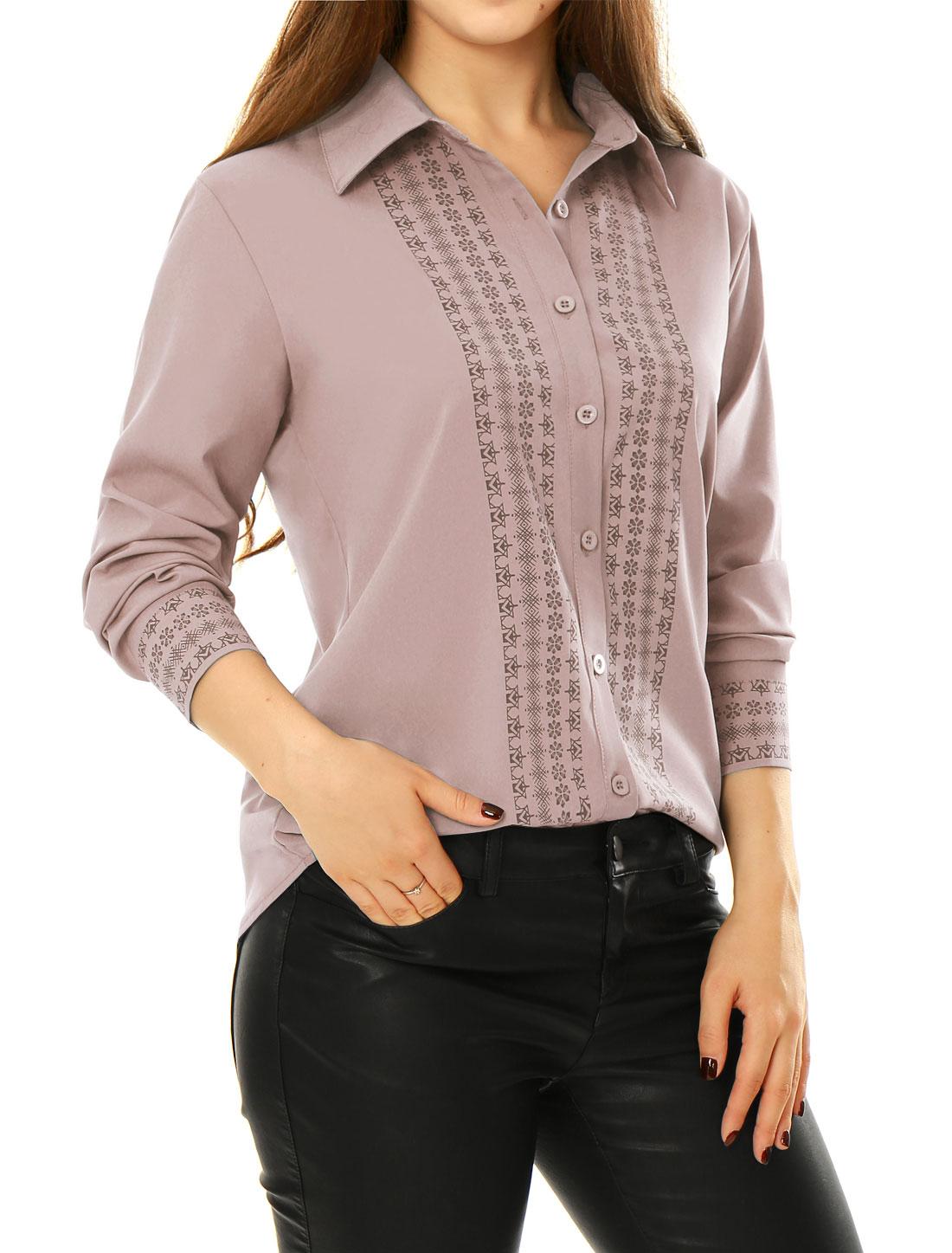 Women Tile Print Long Sleeves Buttoned Tunic Shirt Pink L
