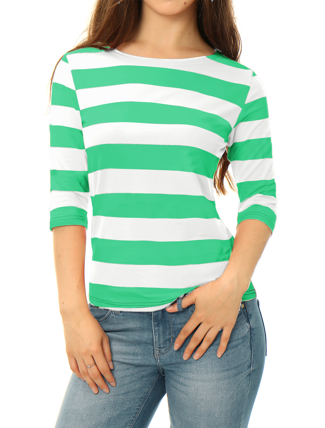 Women Elbow Sleeves Boat Neck Slim Fit Striped Tee Light Green XL
