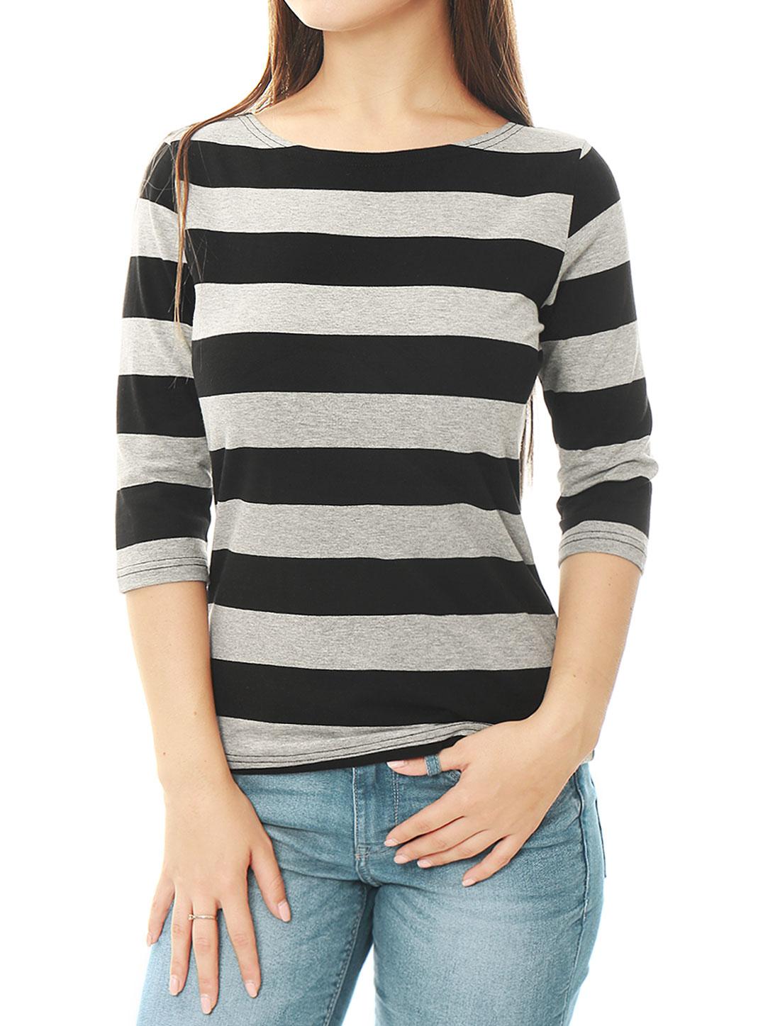 Women Elbow Sleeves Boat Neck Slim Fit Striped Tee Black Gray L
