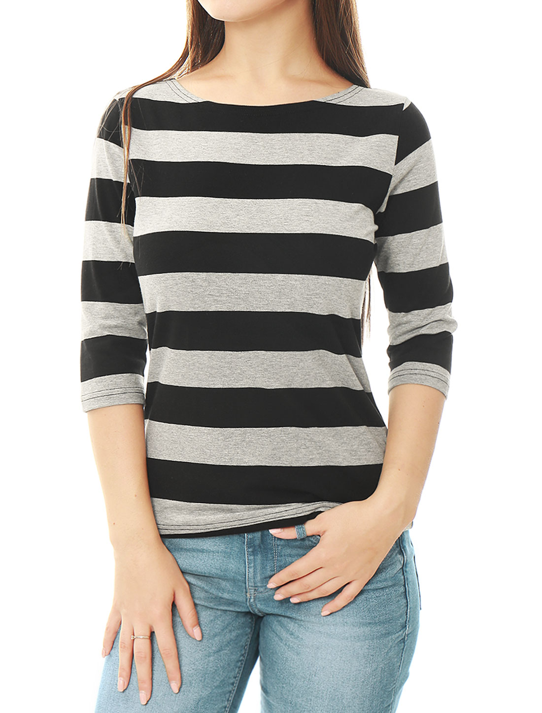 Women Elbow Sleeves Boat Neck Slim Fit Striped Tee Black XL