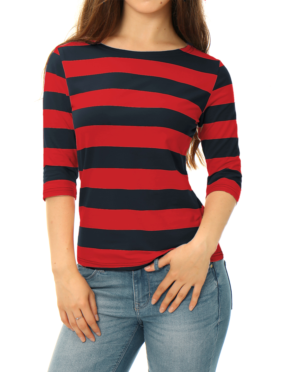 Women Half Sleeves Boat Neck Slim Fit Stripes Tee Red Blue XS
