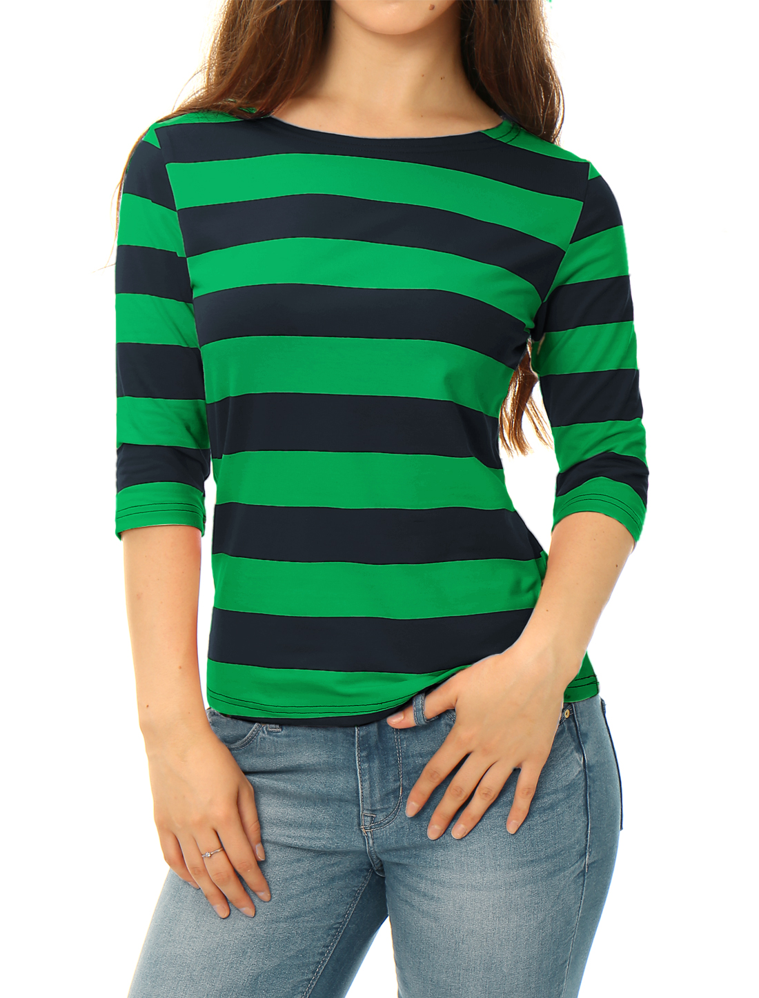 Allegra K Women Half Sleeves Boat Neck Slim Fit Stripe Tee Dark Green M