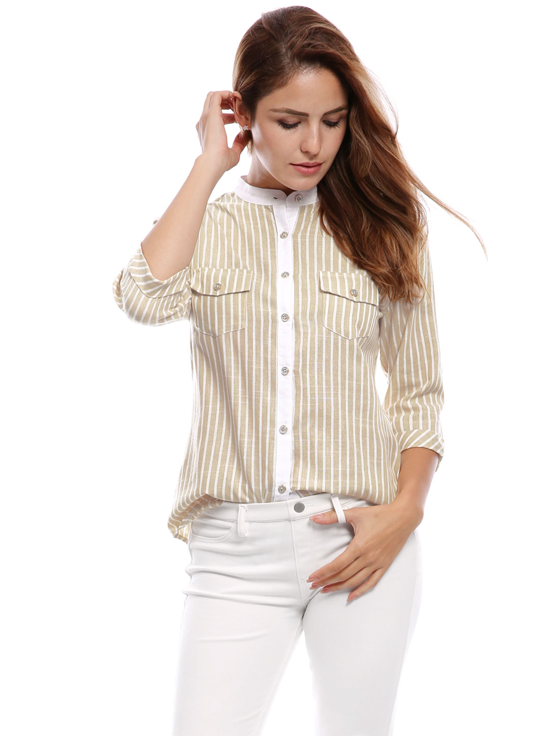 Woman Cuffed 3/4 Sleeves Stand Collar Buttoned Striped Shirt Beige XS