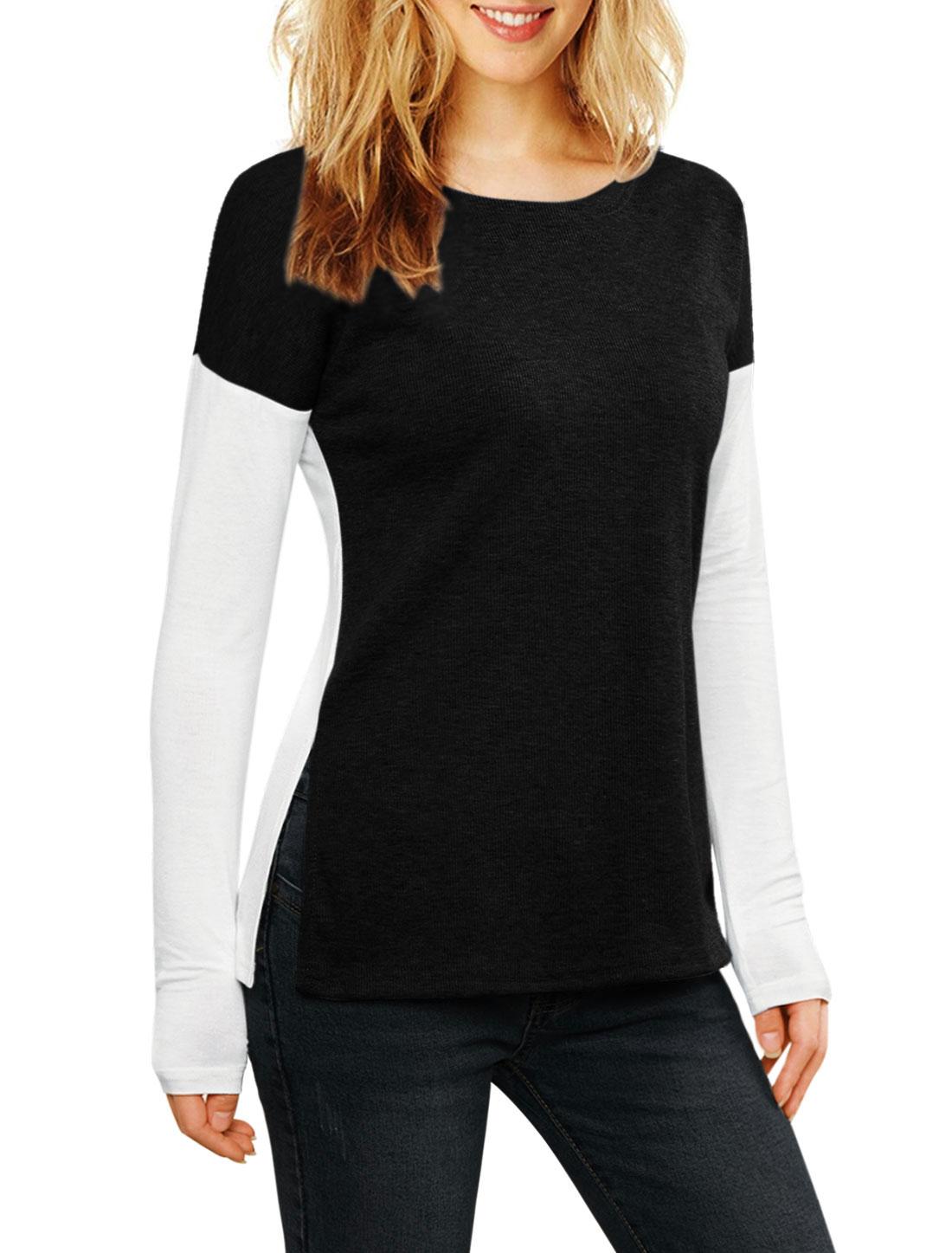 Allegra K Women Color Block Side-Slit Paneled Slim Fit Ribbed Top Black L