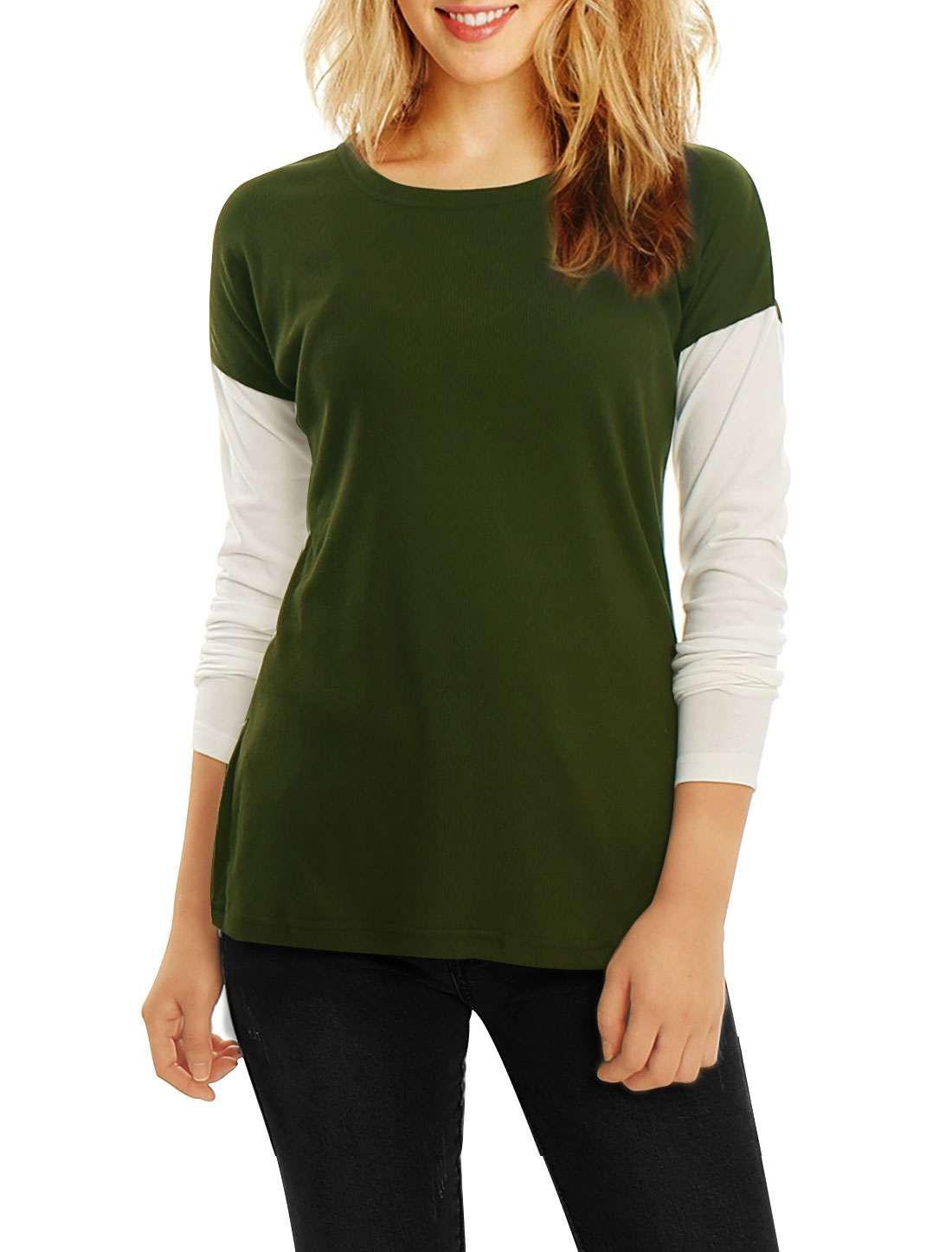 Women Color Block Side-Slit Paneled Slim Fit Ribbed Top Green XS