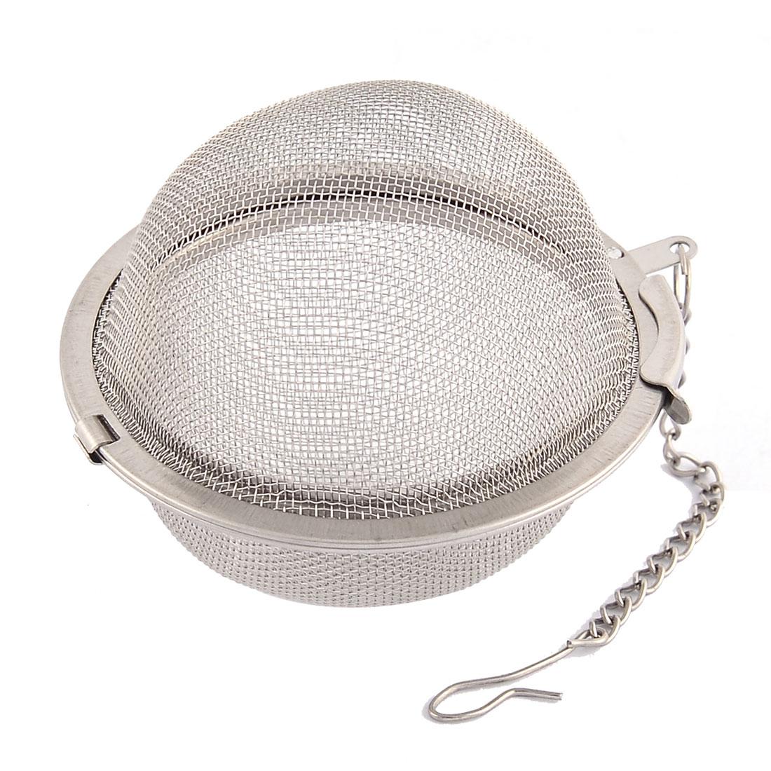 Household 304 Stainless Steel Locking Chain Mesh Tea Ball Strainer Infuser 1.6'' Dia