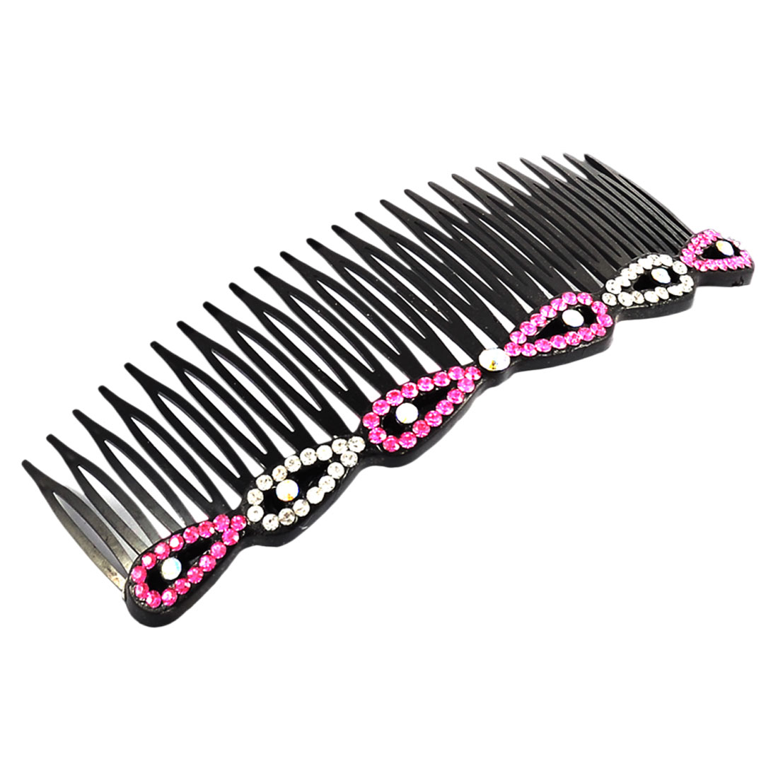 Woman Beauty Fine 24 Tooth Rhinestone Decor Hair Care Clip Comb Fuchsia
