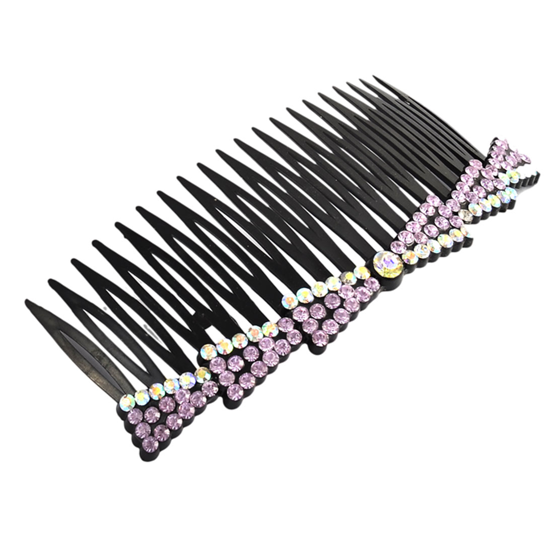 Girl Fine 20 Teeth Bowknot Shape Rhinestone Decor Hair Clip Comb Light Purple