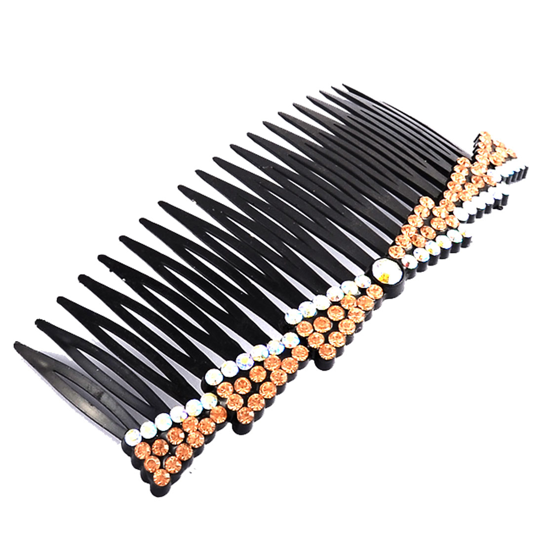 Party Beauty Fine 20 Teeth Rhinestone Decor Hair Clip Comb Champagne Color