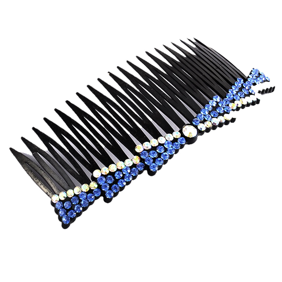Woman Fine 20 Coarse Tooth Bowknot Shape Rhinestone Decor Hair Clip Comb Blue