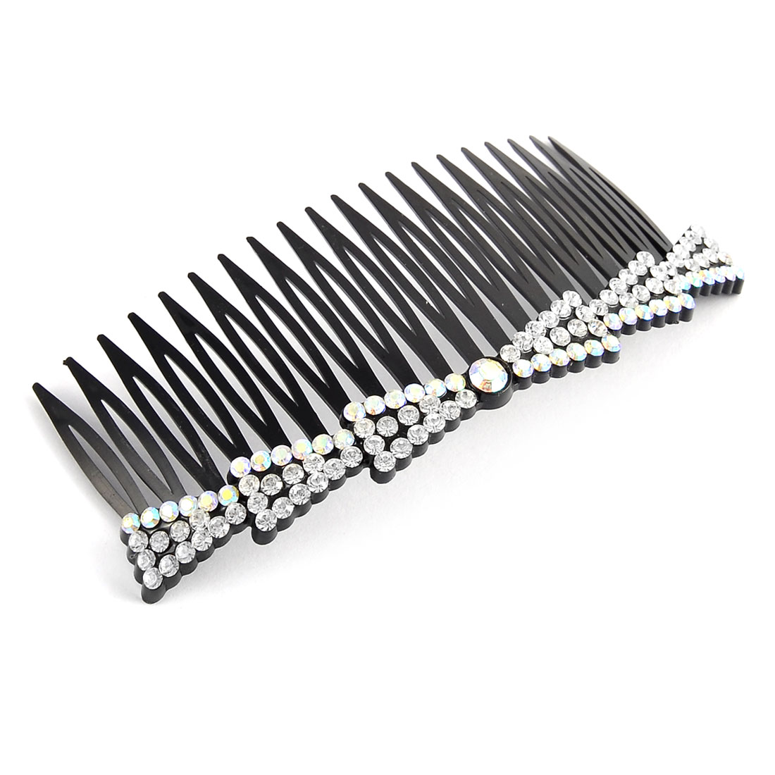 20 Fine Teeth Bowknot Shape Rhinestone Decor Hairstyle Hair Clip Comb White