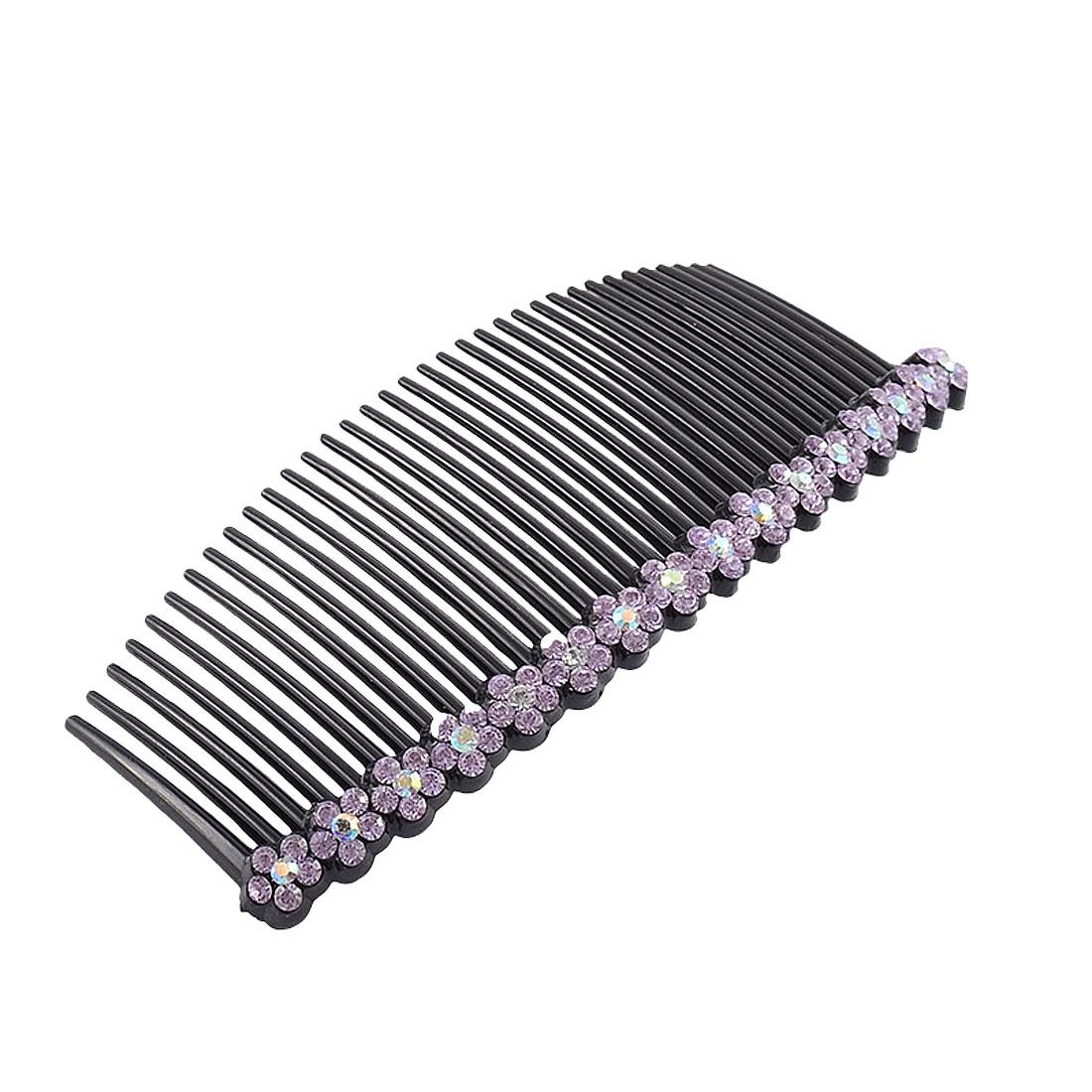Woman Plastic Flower Shaped Rhinestone Decor 35 Teeth Hair Clip Comb Purple