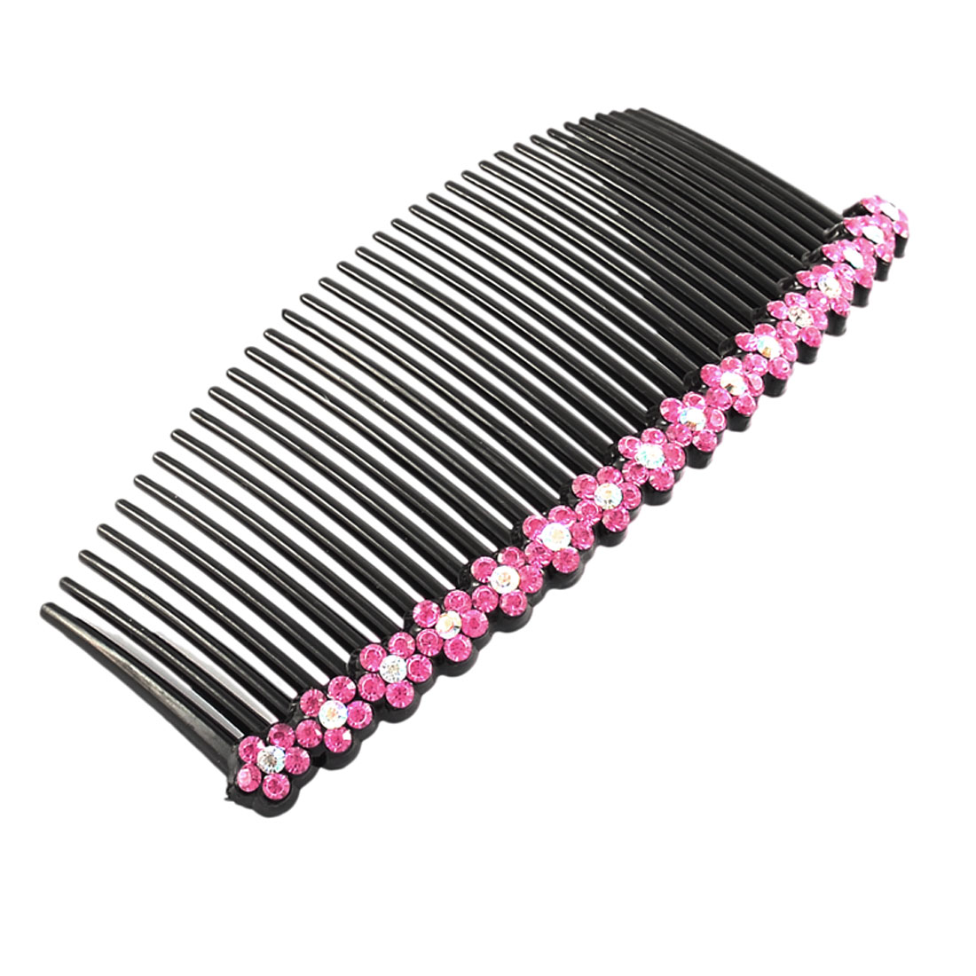 Hairdress Plastic Flower Shaped Rhinestone Decor 35 Teeth Hair Clip Comb Fuchsia