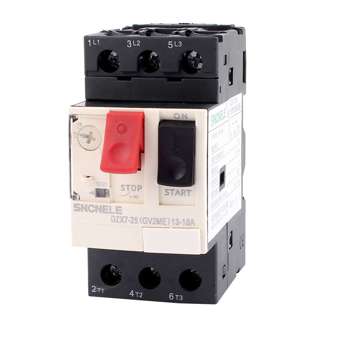 3 Phase DZX7-25 ON/OFF Button Black Starting NO+NC Motor Circuit Breaker 13~18A