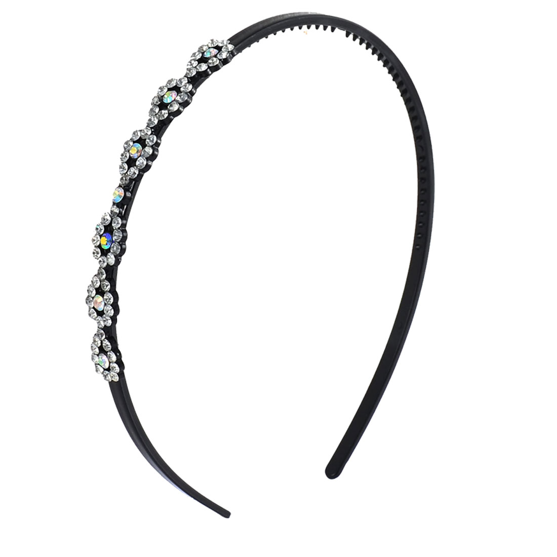 Househld Office Lady Woman Plastic Shiny Rhinestones Decor Headband Hairband