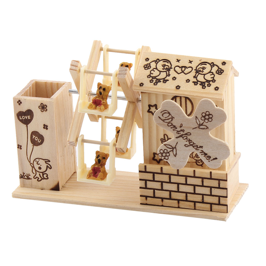 Wood Carton Print Four Bears Decor Windmill Shaped Dual-use Pencil Holder Music Box