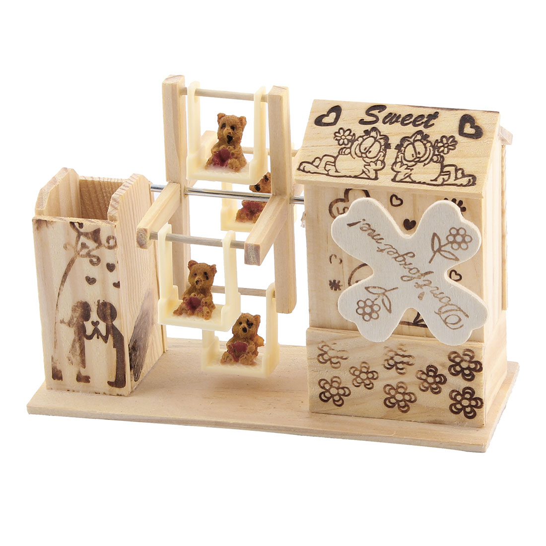 Valentine Present Dual-use Two Tigers Prints Windmill Shaped Pen Holder Music Box