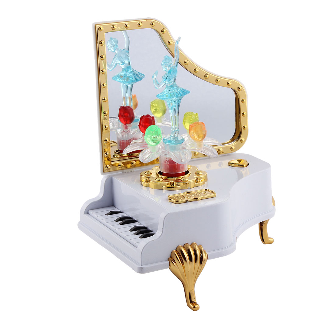 Desktop Ornament Plastic Piano Shaped Ballet Girl Dancing Music Maker Box Case Blue