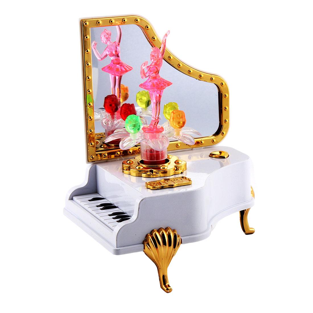 Desktop Ornament Plastic Piano Shaped Ballet Girl Dancing Music Maker Box Case Pink