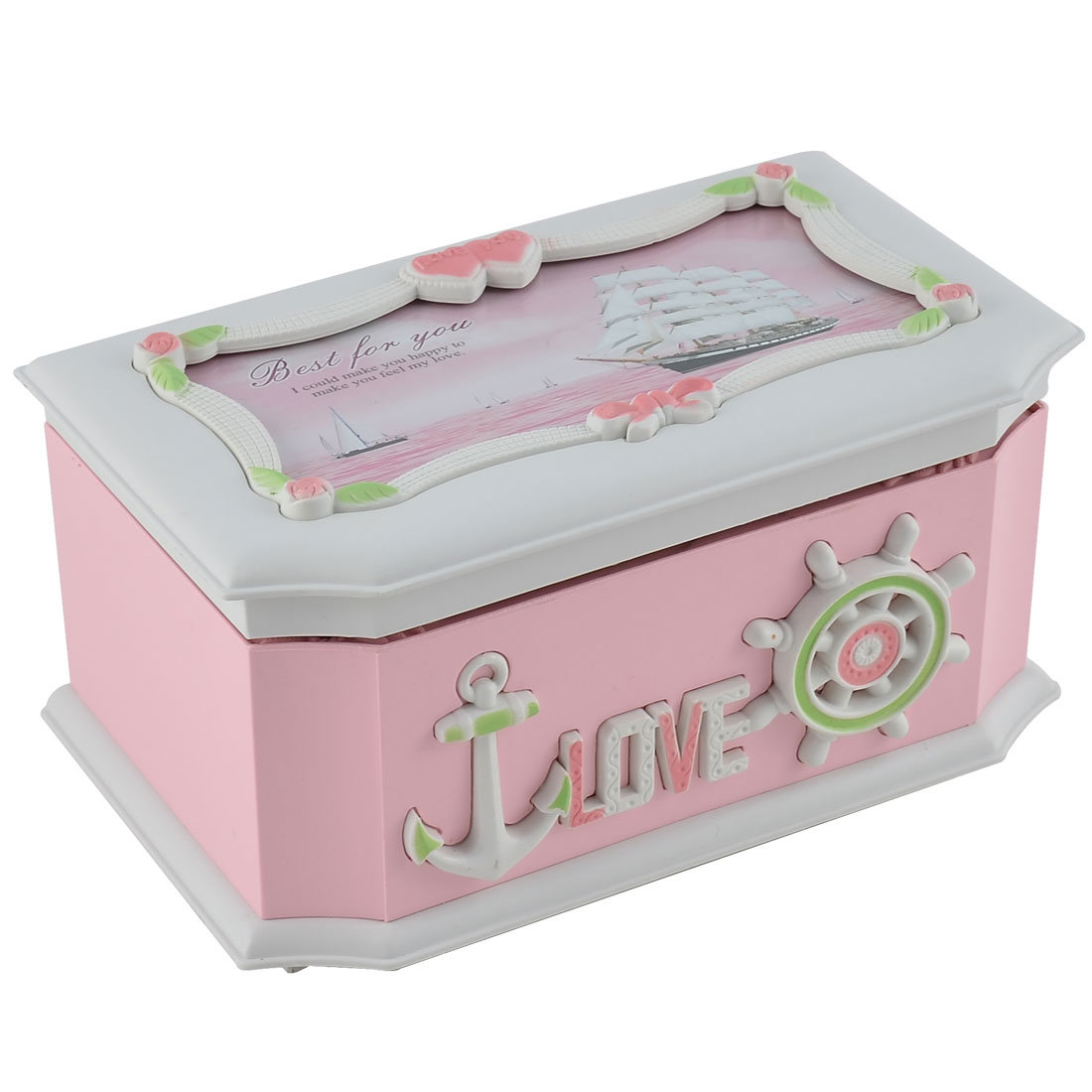 Birthday Gift Plastic Rectangular Shaped Sailboat Pattern Jewelry Music Box Desktop Decor Pink