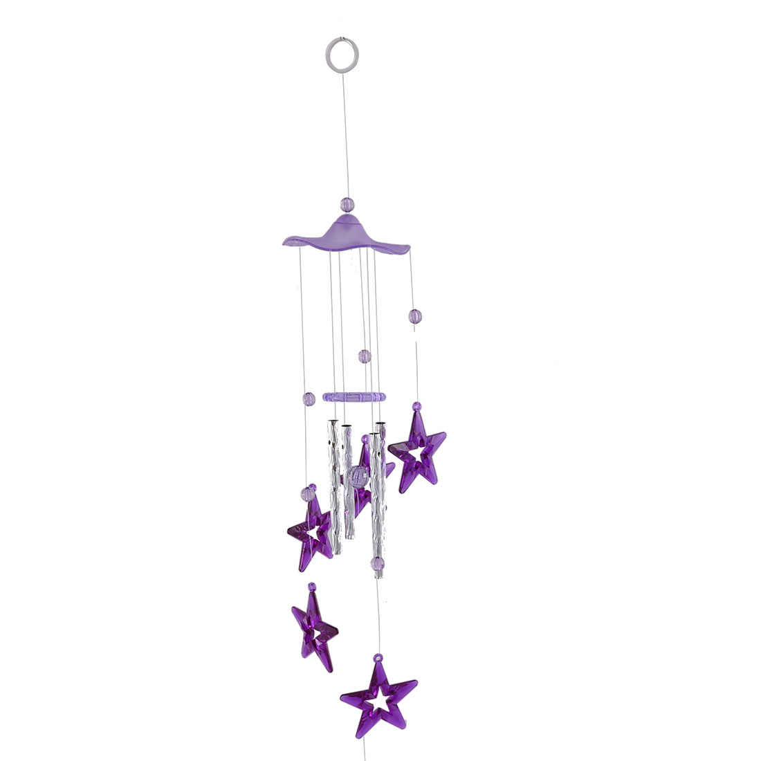 Birthday Gift Plastic Star Shaped Pendant Beads Detail Hanging Chime Windbell Purple 69cm
