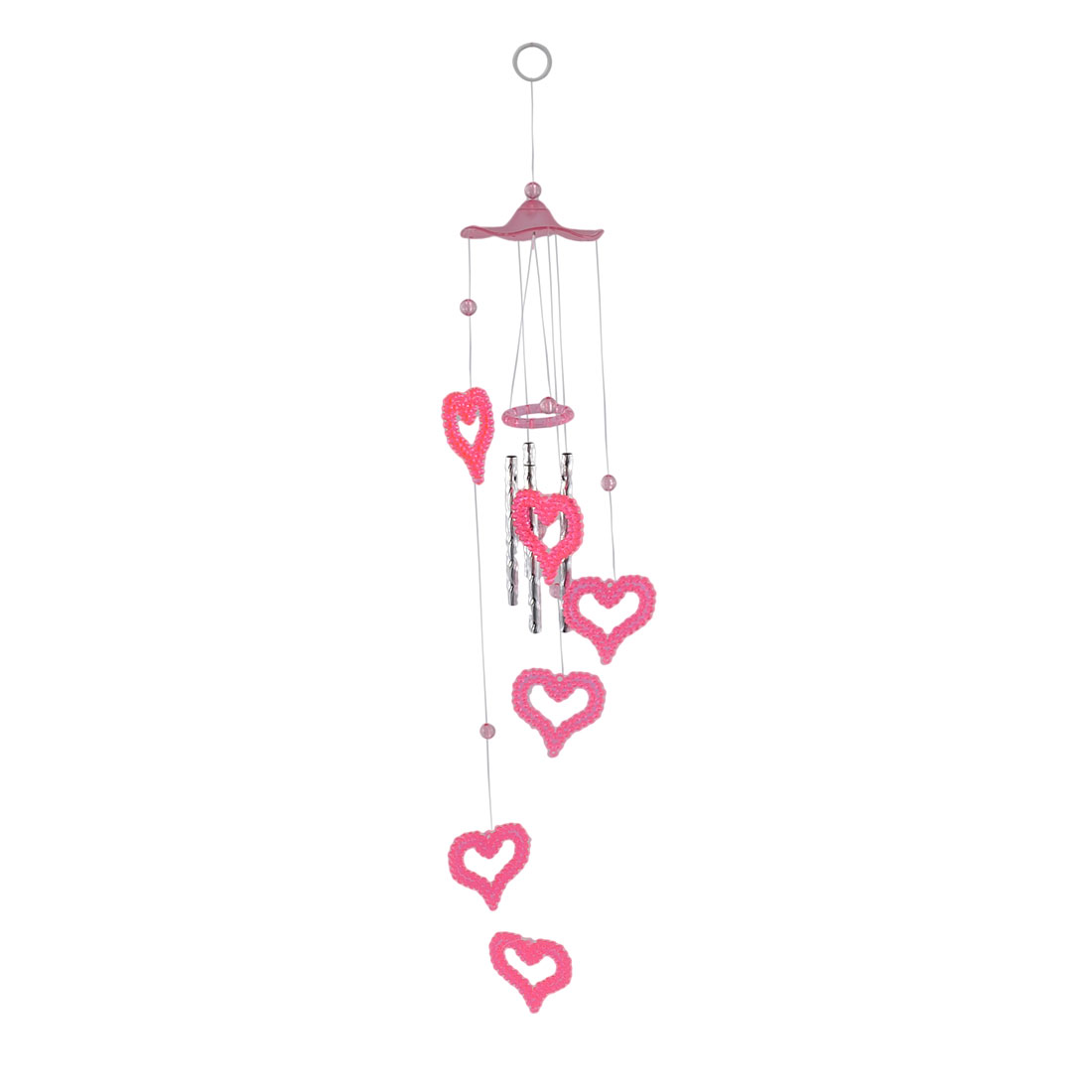 Home Bedroom Decor Plastic Heart Shaped Pendant Hanging Chime Windbell Pink 67cm