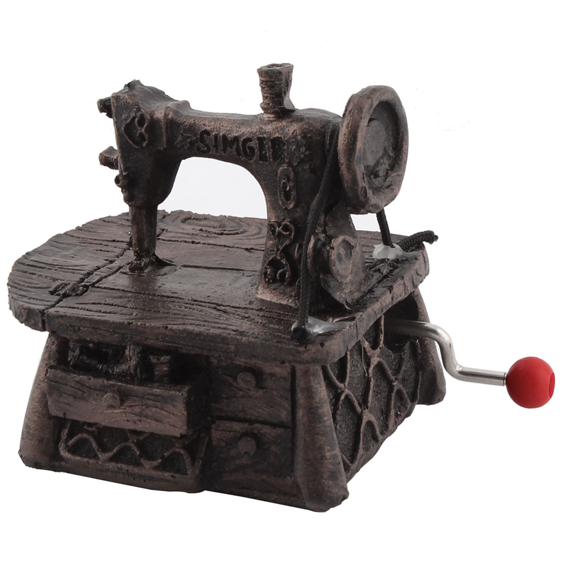 Desktop Decoration Sewing Machine Shaped Hand-cranked Music Box Birthday Gift Brown