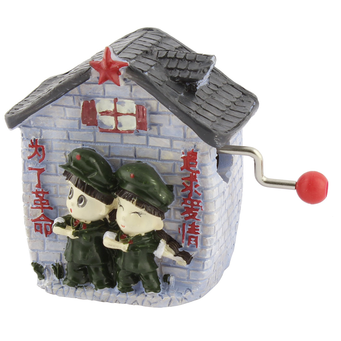 Resin House Shaped Hand-cranked Music Box Birthday Gift Ornament Multicolor