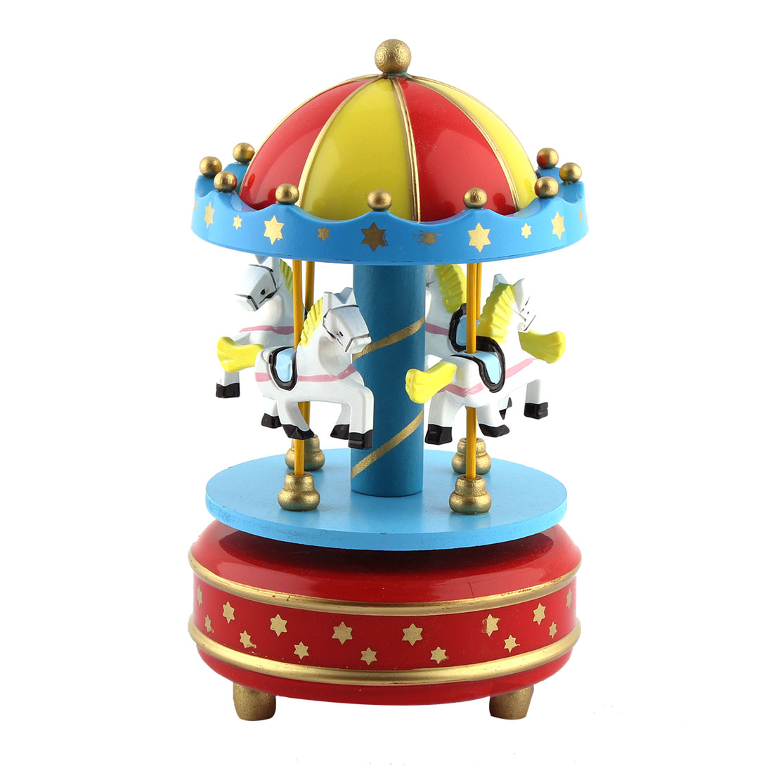 Christmas Gift Metal Base Star Printing 4 Horses Merry-Go-Round Music Box