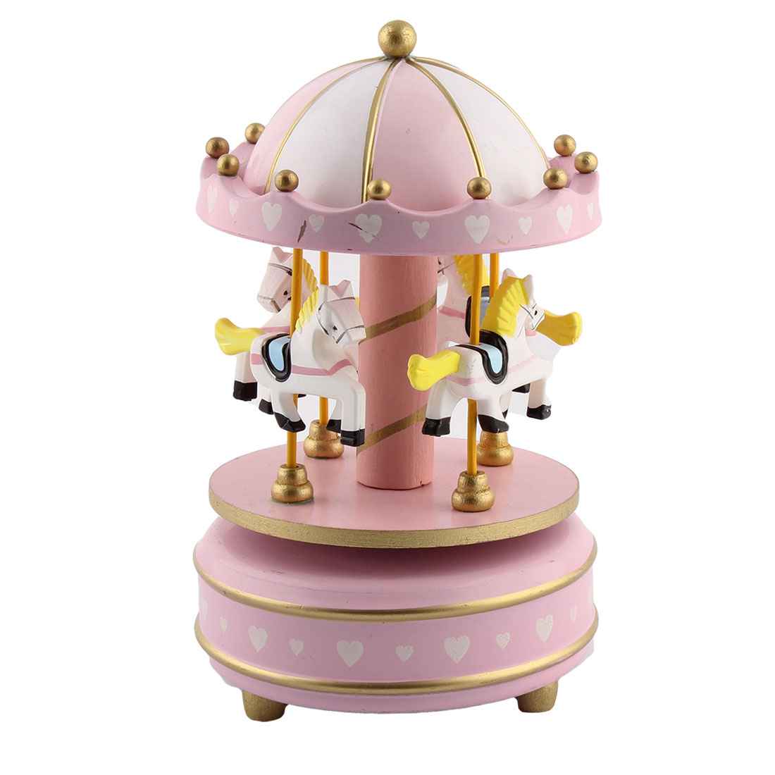 Gift Metal Base Love Printing 4 Horses Merry-Go-Round Carousel Music Box Pink White