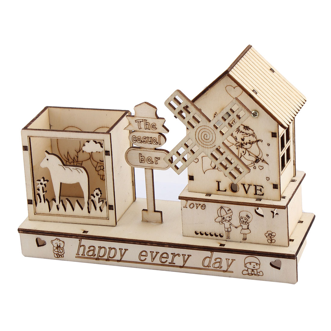 Desktop Wooden Pen Holder Clockwork Windmill Model Handmade Music Box Beige