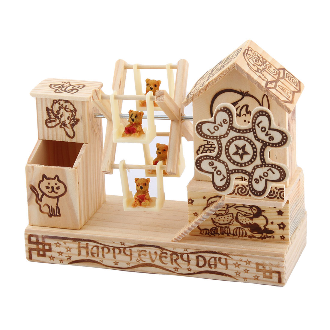 Office Desktop Wooden Pen Holder Clockwork Hand Crank Handmade Music Box Beige