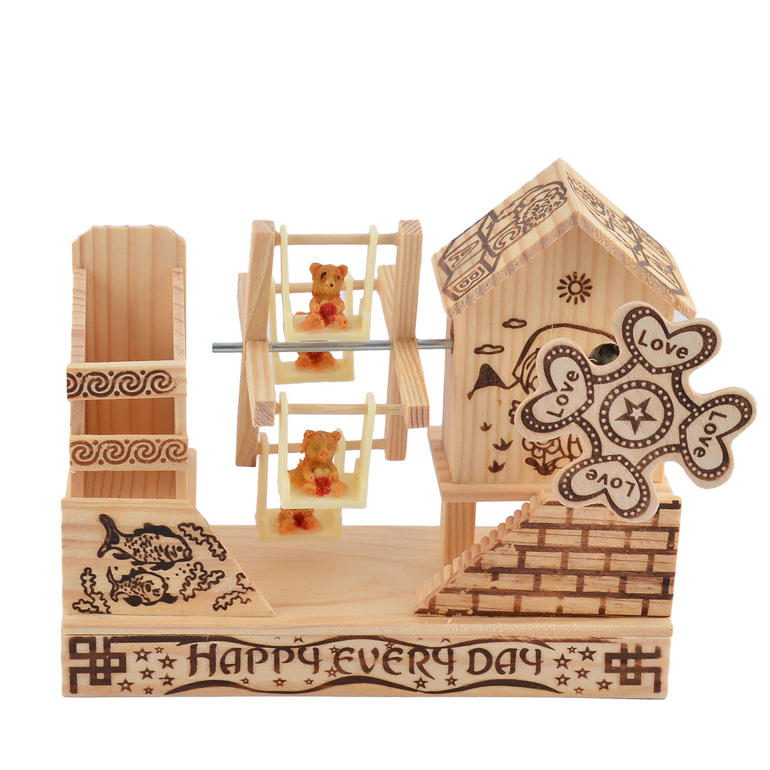 Birthday Gift Wooden House Shaped Little Animal Windmill Decor Music Box Desktop Decor Beige