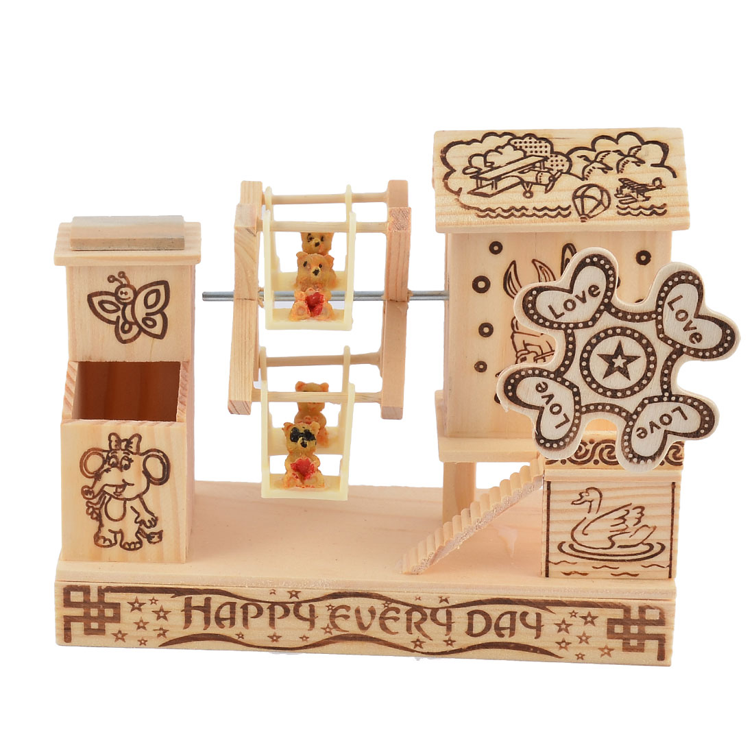 Home Wooden House Shaped Bears Decor Hand Power Music Box Desktop Decor Birthday Gift