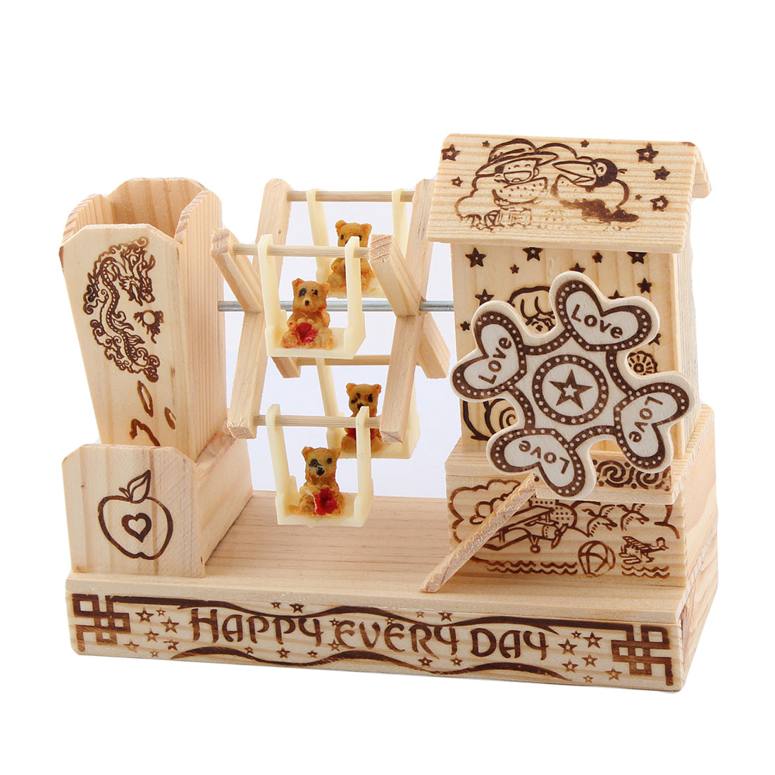 Office Table Wooden Pen Holder Clockwork Model Handmade Music Box Decor Beige
