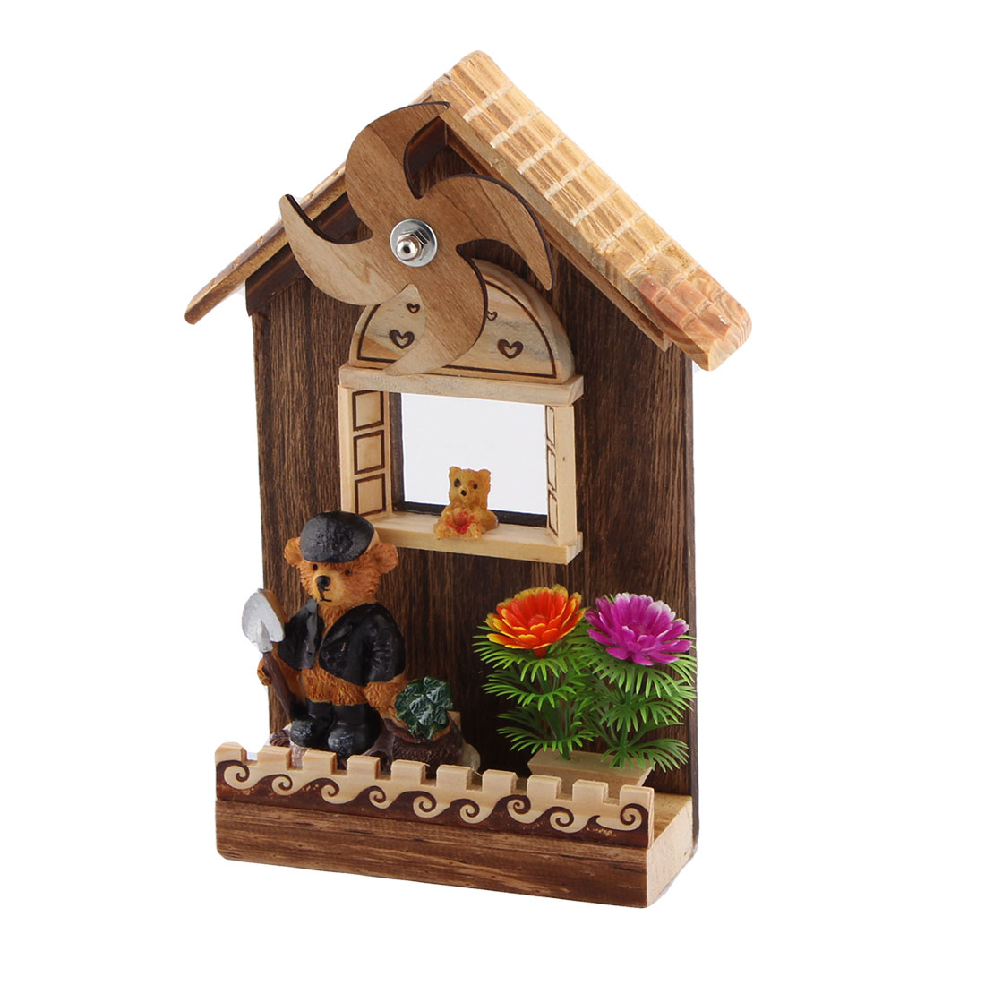 Office Table Wooden Clockwork Rotation Windmill Bear Ornament Handmade Music Box