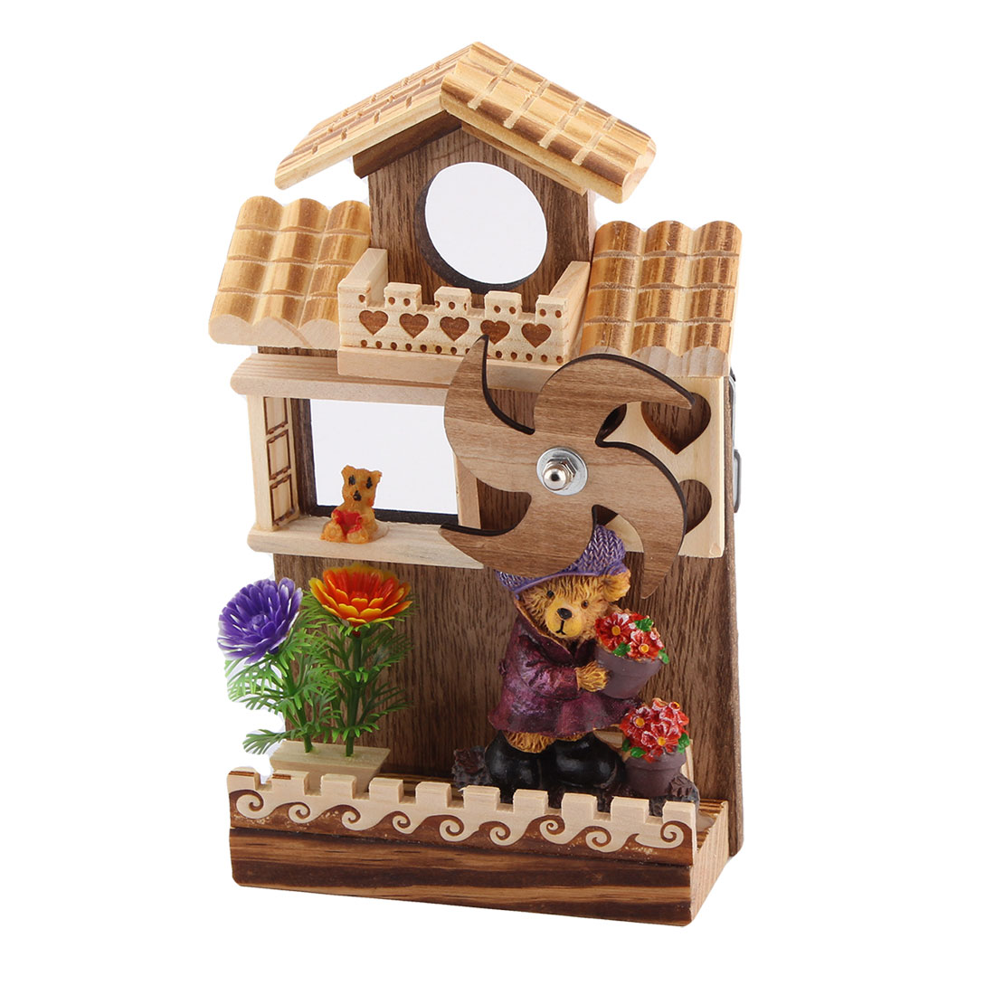 Office Table Wooden Clockwork Rotation Windmill House Decor Handmade Music Box