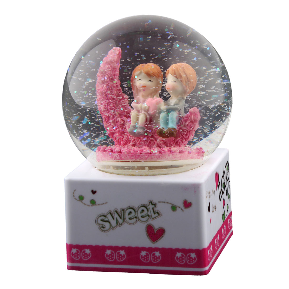 Home Decoration Plastic Base Snow Glass Ball Lovers Shaped Music Box Birthday Gift