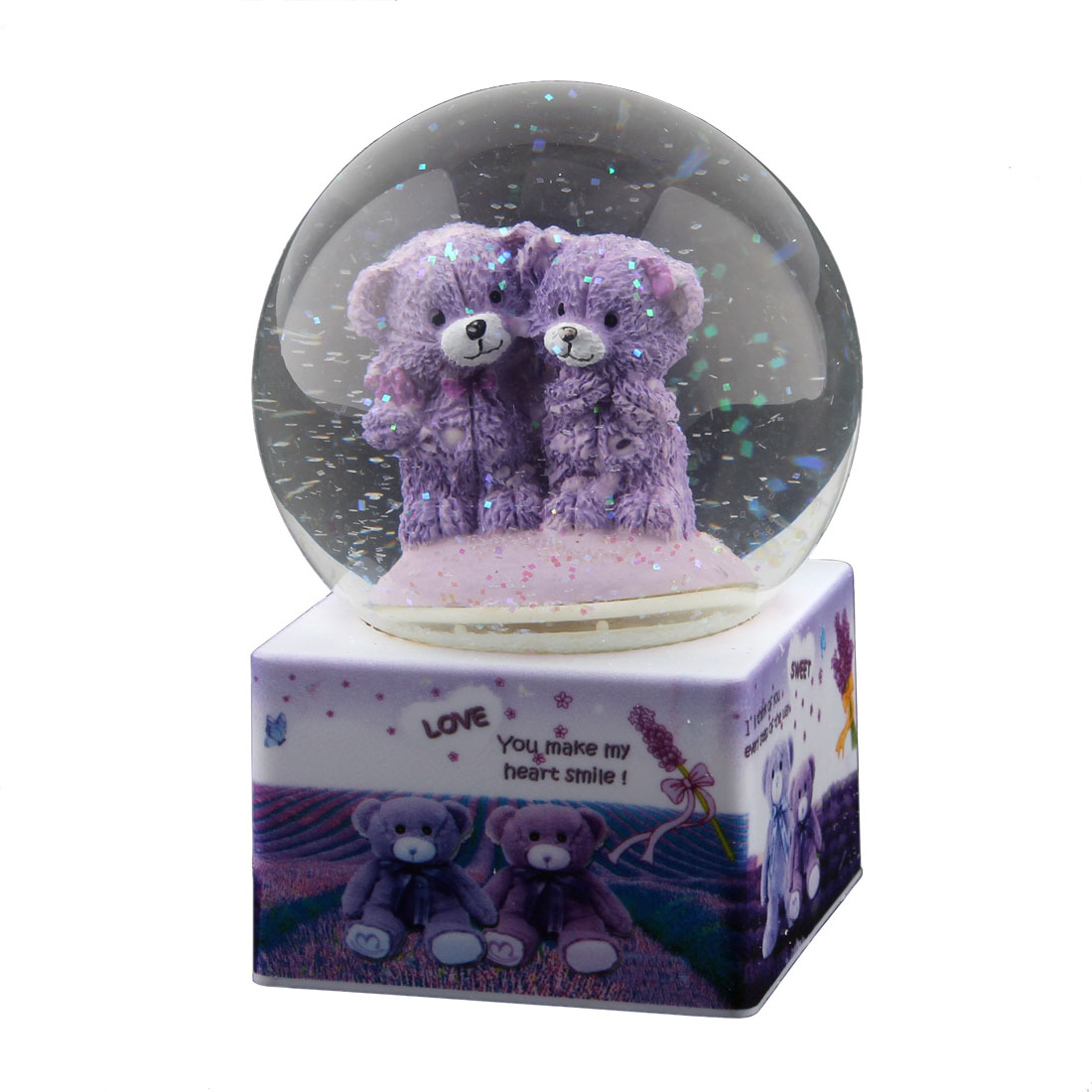 Home Decoration Plastic Base Glass Ball Two Bears Shaped Music Box Gift Purple