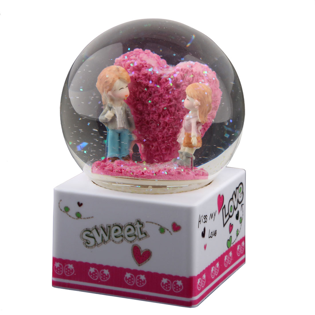 Home Decoration Plastic Base Glass Ball Love Shaped Music Box Gift