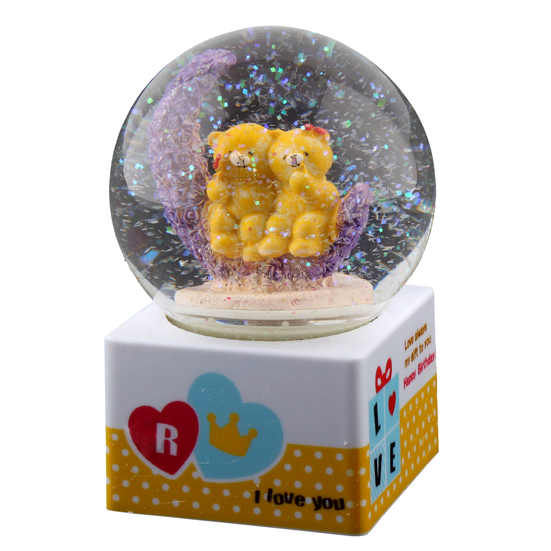 Home Decoration Plastic Base Glass Ball Two yellow Bears Shaped Music Box Gift