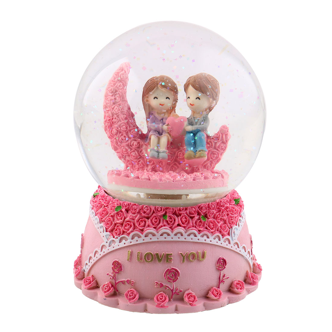 Home Decoration Resin Base Glass Ball Lovers Shaped Music Box Gift